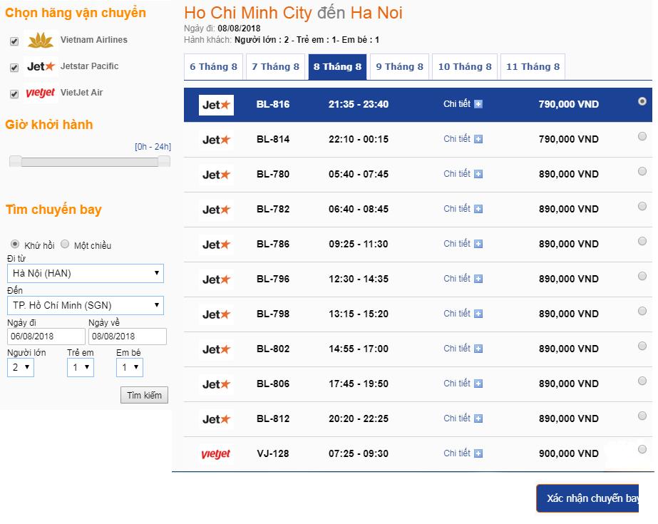 Xem giá và lựa chọn hành trình vé máy bay chiều về từ HCM đến HN