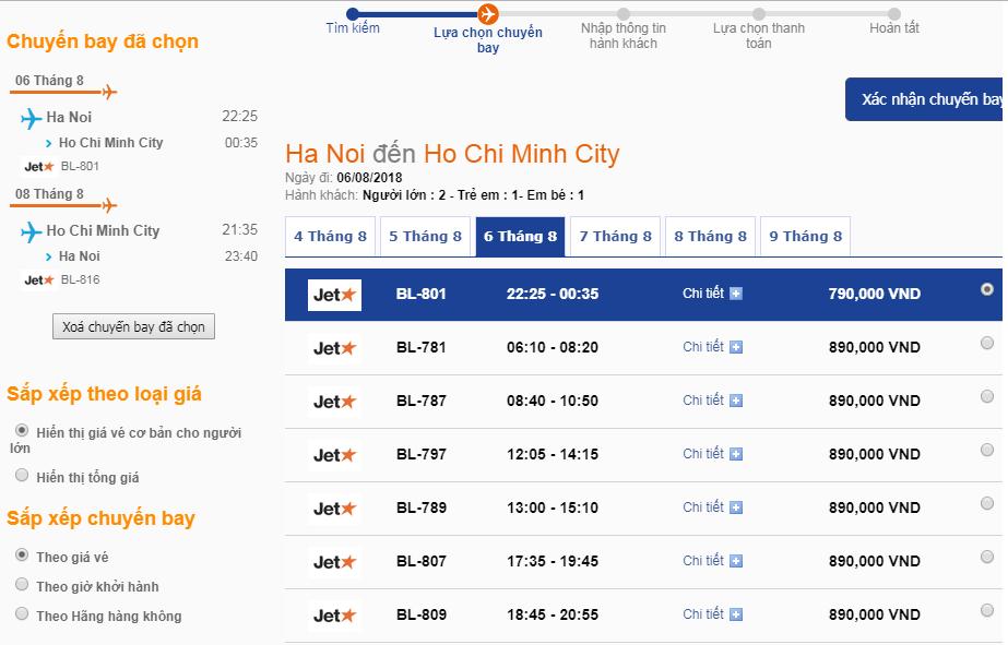 Xem giá và lựa chọn hành trình vé máy bay chiều đi từ HN đến HCM