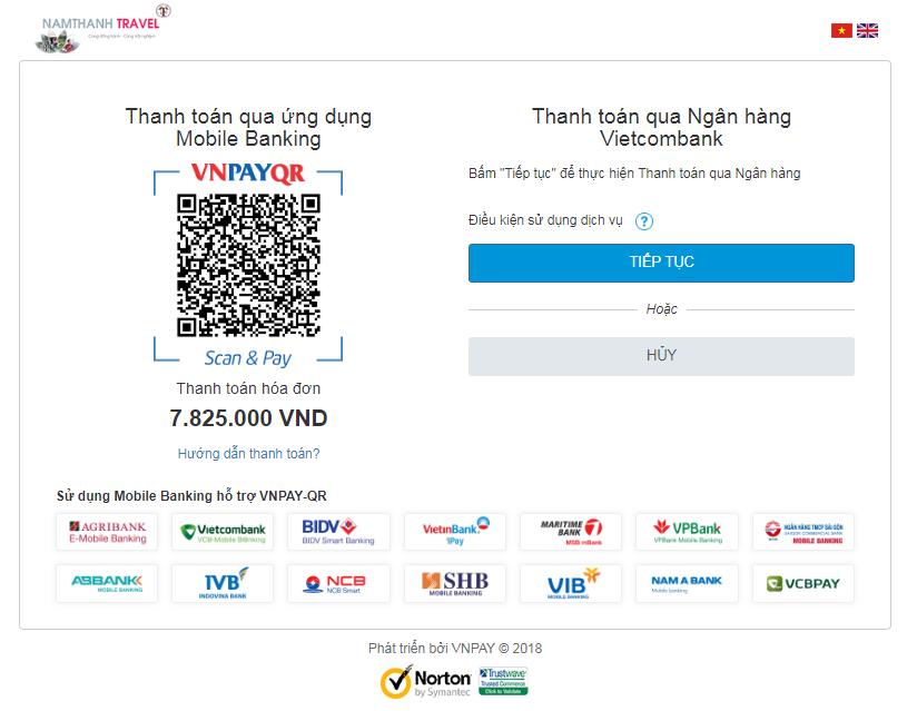 Thanh toán vé máy bay tại nam thanh bằng vietcombank