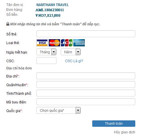 Quy trình thanh toán vé máy bay bằng thẻ visa, master car